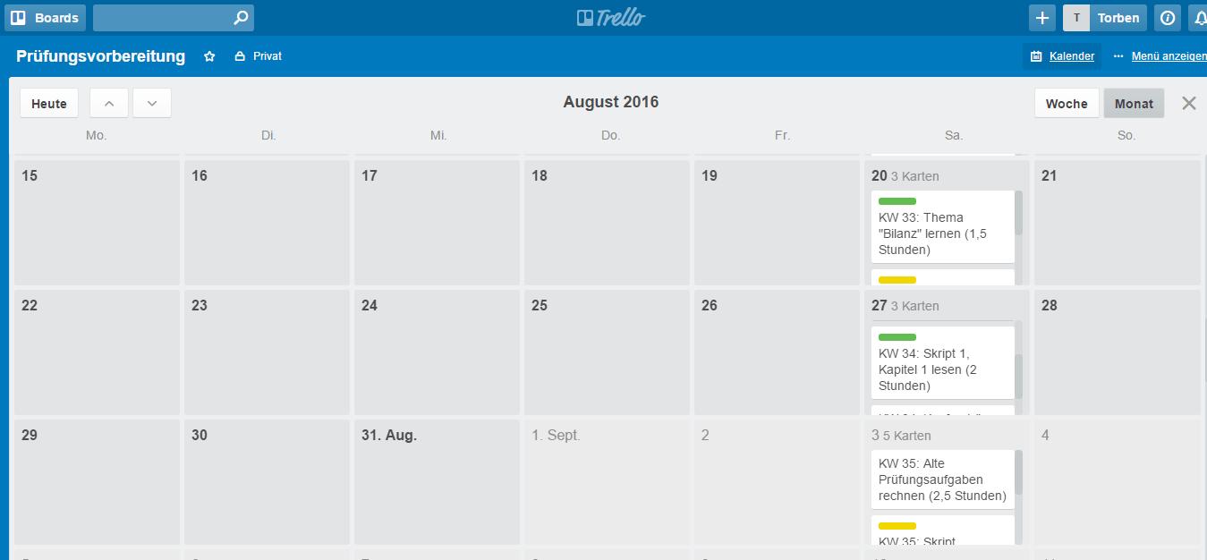 So sieht die Kalenderansicht von Trello aus. Den einzelnen Tagen sind alle Karten mit Fälligkeitsdatum zugeordnet. Bei uns wären das allerdings nur die Samstage (Screenshot: trello.com).