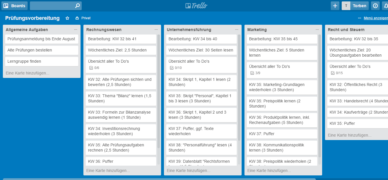 Jetzt enthält unser Lernplan schon alle Information, die wir für die Prüfungsvorbereitung brauchen. Allerdings ist er noch etwas eintönig; doch das ändern wir gleich (Screenshot: trello.com).