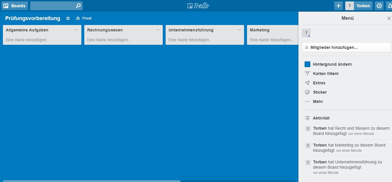 So sieht die Basis unseres Lernplans aus. Jeder Themenbereich bekommt seine eigene Liste, in die wir gleich die Details eintragen (Screenshot: trello.com).