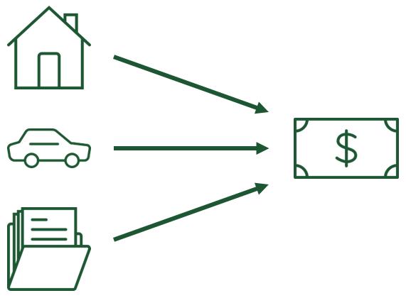 So funktioniert das Substanzwertverfahren: Alle Vermögensgegenstände werden einzeln bewertet, die Summe ergibt den Unternehmenswert.